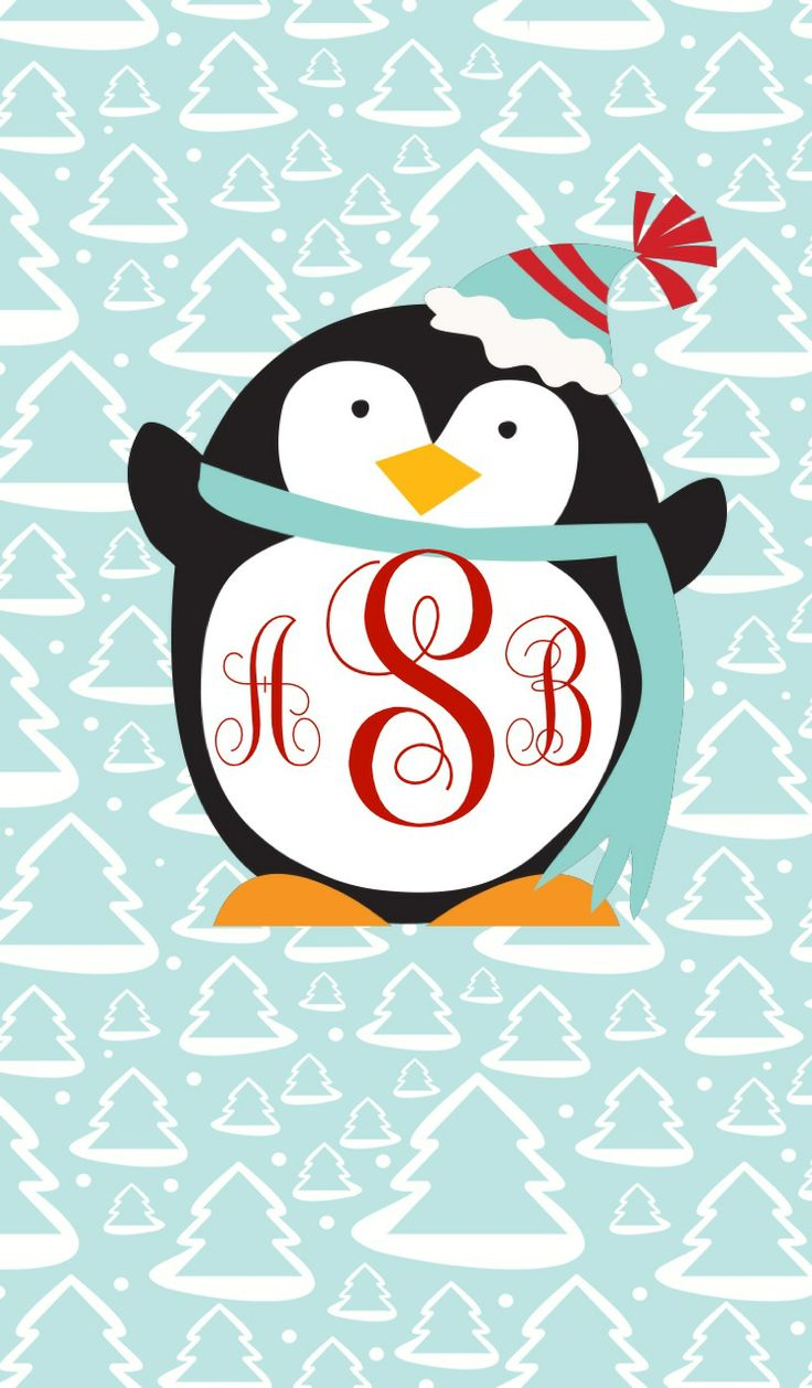 Shirt design app for iphone - Christmas Monogrammed Penguin Iphone Ipad Wallpaper Made With Monogram App