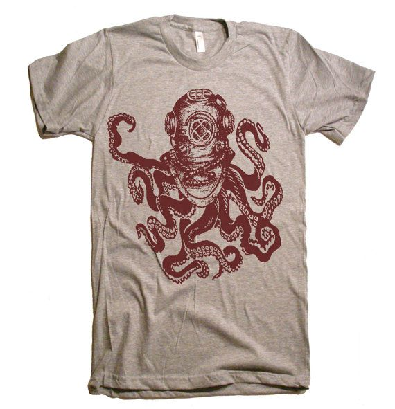 Mens Deep Sea Octopus Diver T-Shirt - American Apparel Tshirt - XS S M L XL and XXL (28 Color Options)