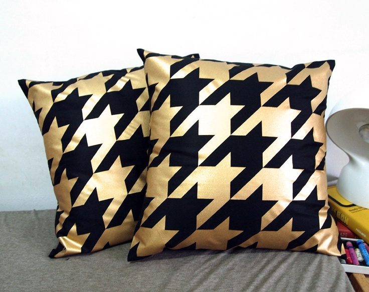 Black Cotton Throw Pillows : set of two-Houndstooth Pillow Cover-Gold printed in black cotton-16