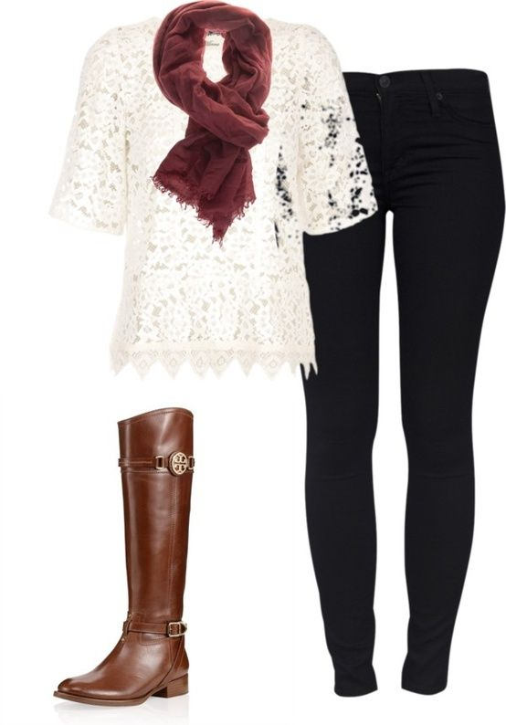 Fall time outfitLace Tops, Tory Burch, Fall Outfits, Fall Winte, Riding Boots, Fall Fashion, White Lace, Brown Boots, Lace Shirts