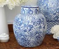 Montclair Blue & White Globe Temple Jar