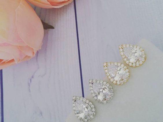 Bridal Earrings   Petite Teardrop Stud in Silver or Gold