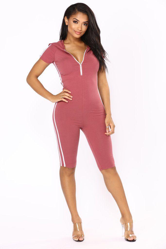 331d8988c60 Sabrina Striped Lounge Romper - Mauve Fashion Nova Jumpsuit