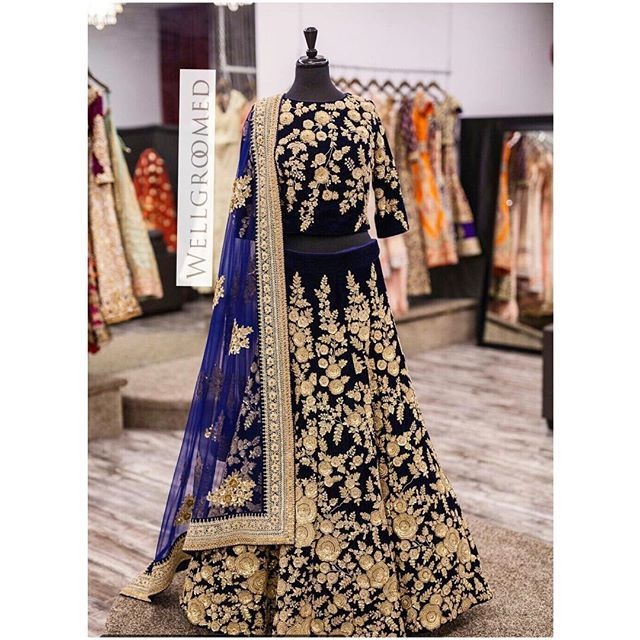 Here's a look at this breathtaking blue micro velvet lengha! It has asymmetrical jaal embroidary using dori and metal sequins! The asymmetrical embroidary gives this piece a very unique and versatile look and the definitely adds that royal touch! All of our pieces are customizable to meet your requirements and personal style! Email us at sales@wellgroomed.ca Out of the country? We've got you covered! We offer phone and skype consultations as well!  Drop by one of our retail locations:  6028…