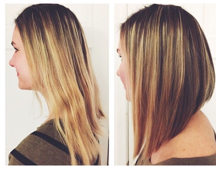 Before and after! Long, angled bob.