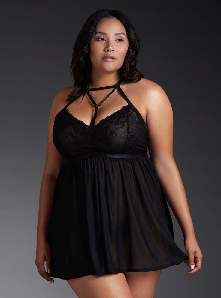 Lace Strappy Halter Babydoll, RICH BLACK