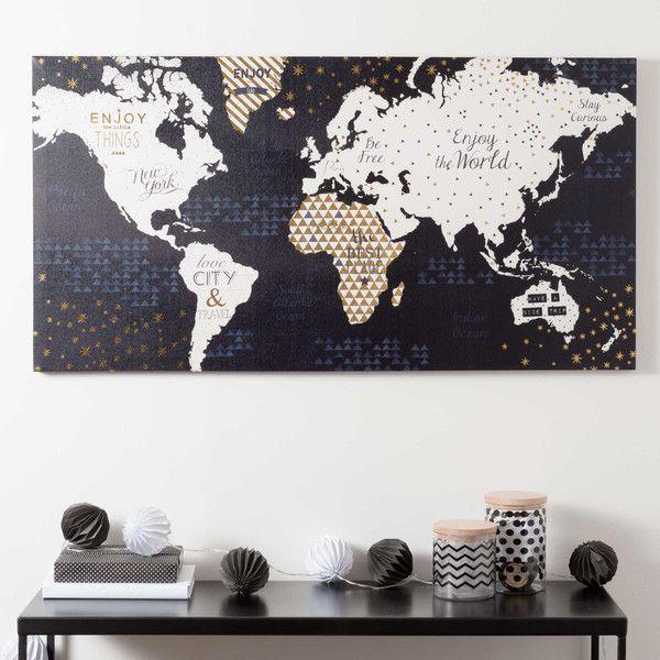 Toile carte du monde 50 x 98 cm
