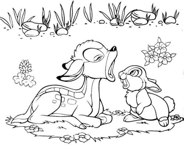 bambi and rabbit singing coloring page