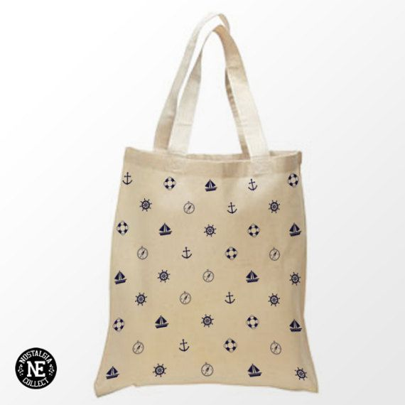 Navy Blue Sailor Pattern Tote Bag  15X16 Inch by Nostalgia Collect