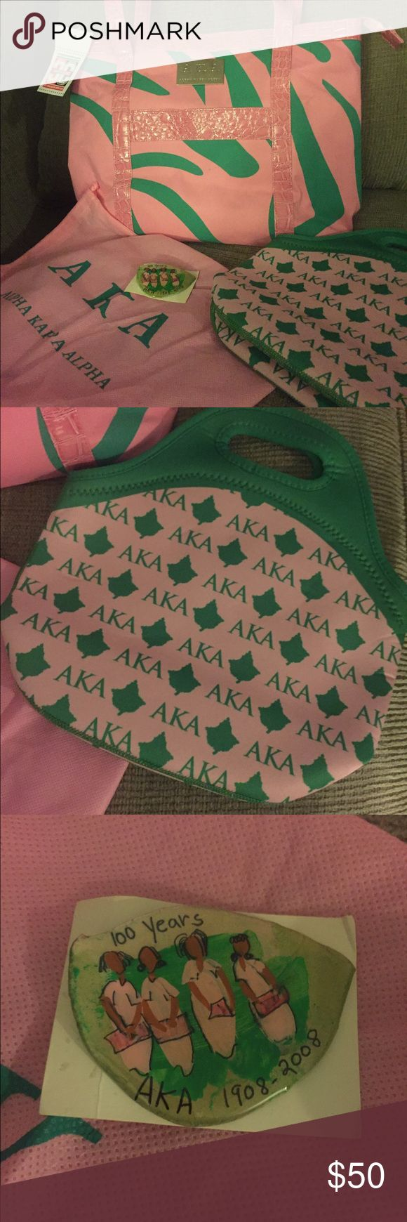 Aka sorority gift set! This pink and green all over sorority bag is delicious ! Any aka would love it for a gift . It has pockets and another bag inside of the pink bag with stylish alligator skin straps  too cute to pass it! Bags Totes