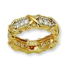 Jacqueline Kennedy 24K Gold Plated & Vermiel Clear CZ Unity Fashion Ring