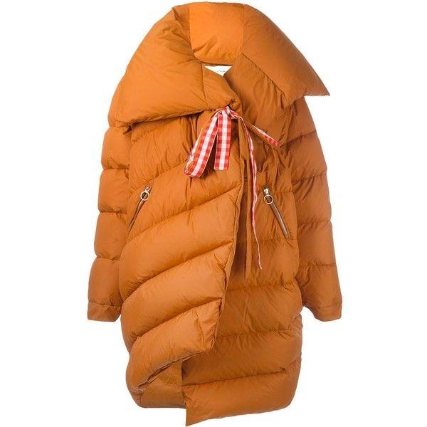 Marques'almeida Puffa Coat (1 805 AUD) ❤ liked on Polyvore featuring outerwear, coats, puffer coats, puffa coat, orange coat, puff coat and feather coat