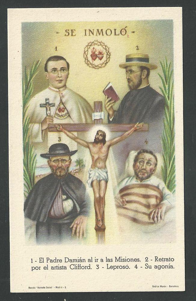 image pieuse Ancienne Padre Damian andachtsbild santino holy card santini