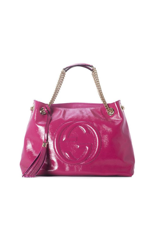 GUCCI Soho Soft Patent Leather Shoulder Bag in hot Pink! Finish off your outfit with this bright & head turning purse! --Perfect & big enough to store all your daily necessities!! #trendy