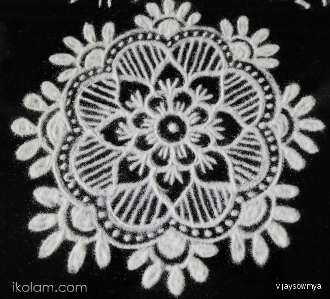 Rangoli Small Free hand design freehand | www.iKolam.com