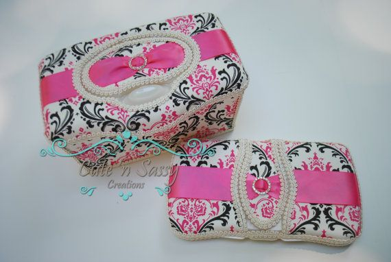 2 Pc Boutique Flip Top Baby Wipe Case Gift Set - Madison Damask with Pink Ribbon Covered Wipes Cases on Etsy, $30.00