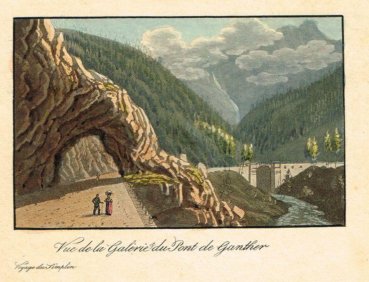 Vue de la Galerie du Pont de Ganther - Voyage du Simplon - Aquatinte XIXe - MAS Estampes Anciennes - MAS Antique Prints