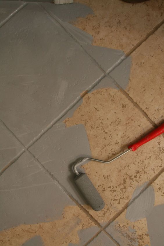 The 25 best ideas about painting tile floors on pinterest for How to paint tiles bathroom