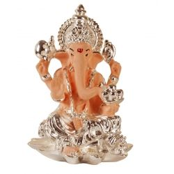 This beautiful piece of exquisitely handcrafted figurine of Lord Ganesha in Terracotta with Silver Plated is being presented to you for brining success and prosperity. As legend goes, In this beautiful piece of rare art, Ganesh ji features sitting on a lotus and offering blessings. The idol has been designed by artisans of Arghyam exclusively for PujaShoppe.com which reflects exemplary craftsmanship.
