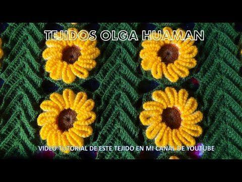 muestra # 16 girasol para colcha a crochet video 1 - YouTube