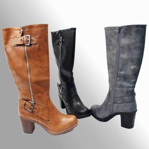 BUMPER-Womens-Round-Toe-Side-Zipper-Chunky-Heel-Knee-High-Boots