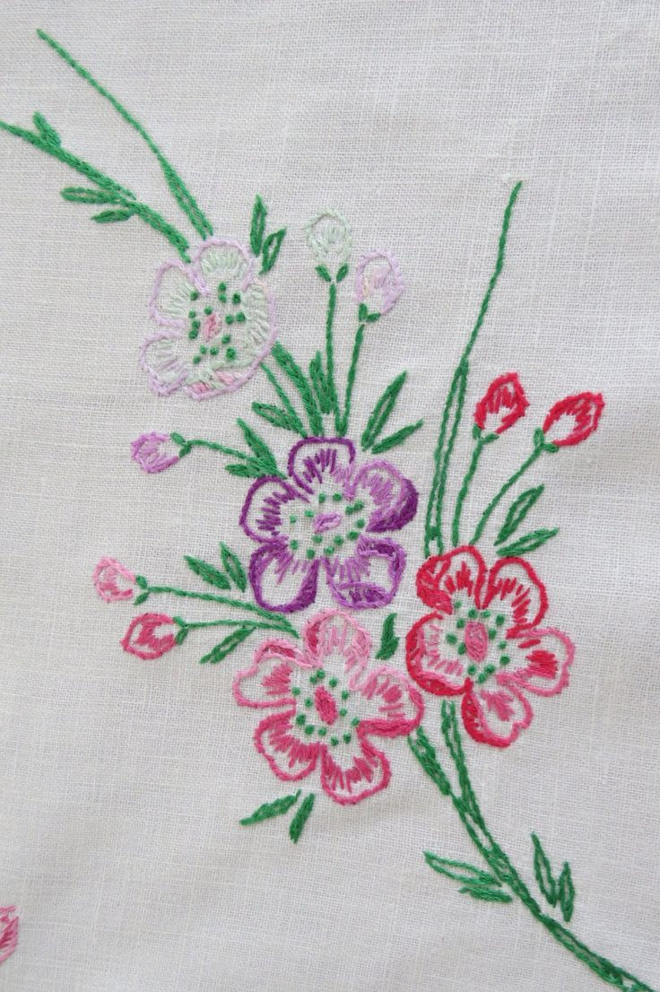 Outline embroidery designs for tablecloth - Vintage Embroidered Floral Dresser Scarf Pink Red Lavender Blue Pansies Table Runner Crochet