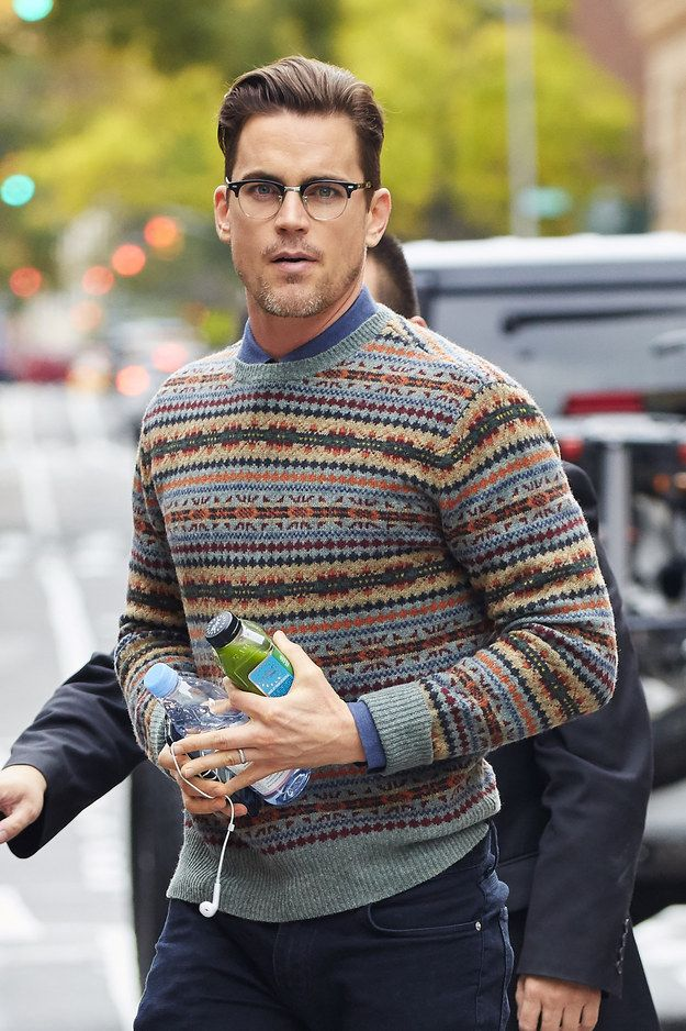 Oh shit, just when you thought IT CAN'T GET BETTER, God works in mysterious ways and Matt Bomer walks around with a green juice, water bottle, AND salt-n-pepper scruff. | Stop What You're Doing And Worship These Matt Bomer Pictures