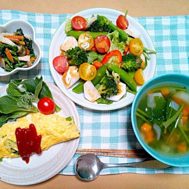サラダほうれん草とかぶが安かったんですね~(笑)1人の晩ご飯なんで好きな野菜のオンパレードです(^O^)まぁダイエットもかねてます… - 27件のもぐもぐ - サラダほうれん草とかぶのサラダ かぶ入り生姜野菜スープ かぶの葉入りオムレツアイスプラント添え ほうれん草のナムル ごはん by etsujiro