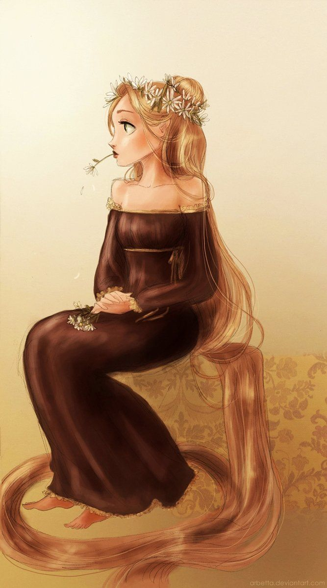 "Tangled / Rapunzel - Art by Arbetta on deviantART, ""Boredom and daisies"""