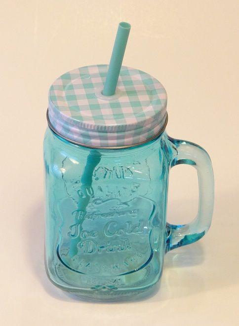 Vintage üveg pohár szívószállal. Limonádés bögre. Füles bögre csavaros fém fedéllel.