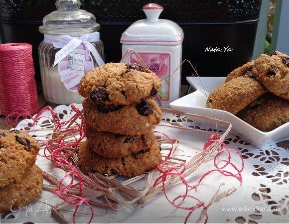 Овсяное печенье на кокосовом масле с клюквой и изюмом