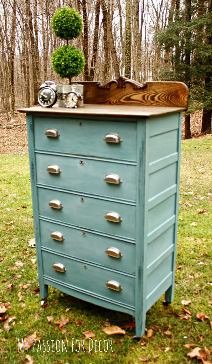 My Passion For Decor: A Modern Update On a Timeless Piece. Custom mixed color using Chalk Paint™ by Annie Sloan. Mixed Louis Blue, Napoleonic Blue, Antibes Green, Florence and English Yellow.