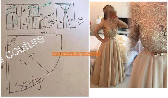 باترون فستان سواريه بالدانتيل Pattern Sewing Dress Patterns Diy Pattern Dress Women Long Dress Patterns