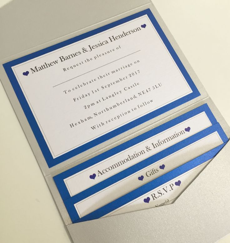 Plain & Simple Love Heart Pocketfold Invitations in Pale Silver & Royal Blue