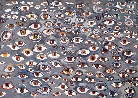 Edward Dwurnik Brązowe oczy, 1998, 150 × 210 cm, olej, płótno