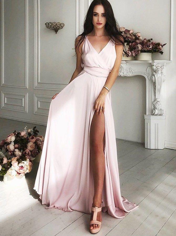 b7ca67577118 A-Line V-Neck Sweep Train Pink Satin Prom Dress with Split PG657 #promdress  #satin #a-line #vneck #floorlength #pink #eveningdress #pgmdress #split #  ...