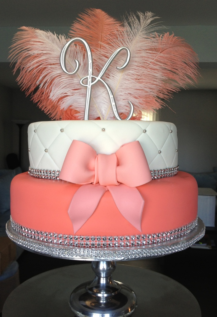 I LOVE THIS CAKE!!!  would want it to be taller like more layers but love the feather and the letter! i would also want to change the color so its more classy.