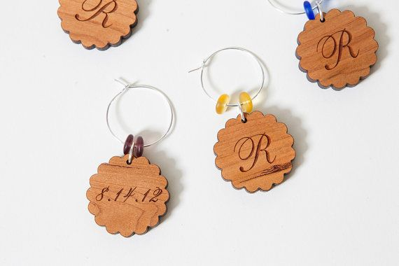Personalized Wine Glass Charms, Laser Engraved Wine Charms, Wooden Wine Charm Favors, Rustic Wedding Wine Charms, Bridal Showers, 20