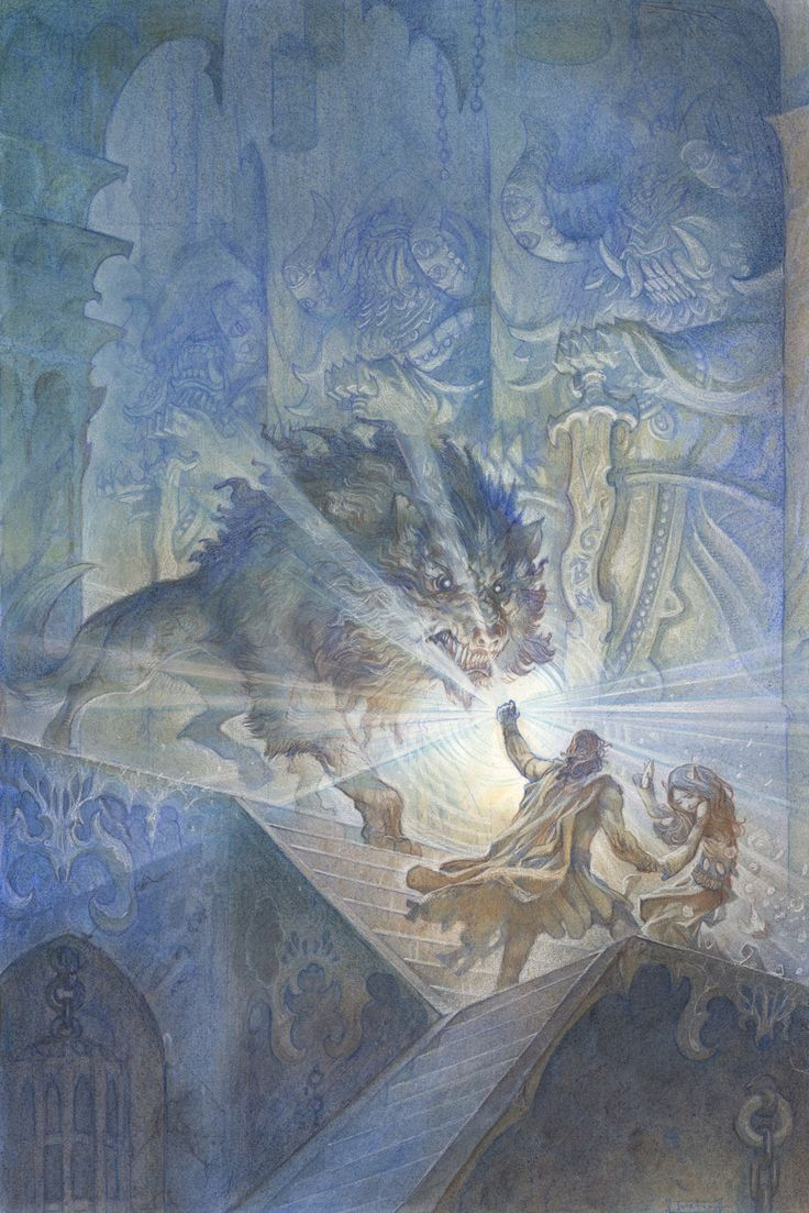 A fantastic picture of Beren and Lúthien escaping from Angband with a Silmaril from Morgoth's crown and are stopped by the great wolf Carcharoth