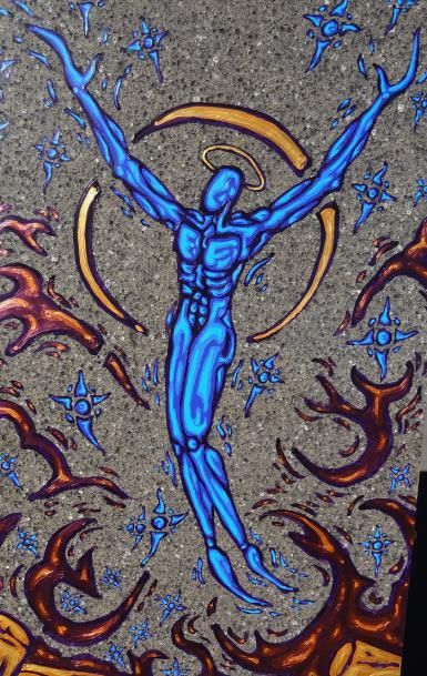 Archangel Michael fire angel - Painting by Candian artist David Martel, who can be reached at: art.rupestre@hotmail.com