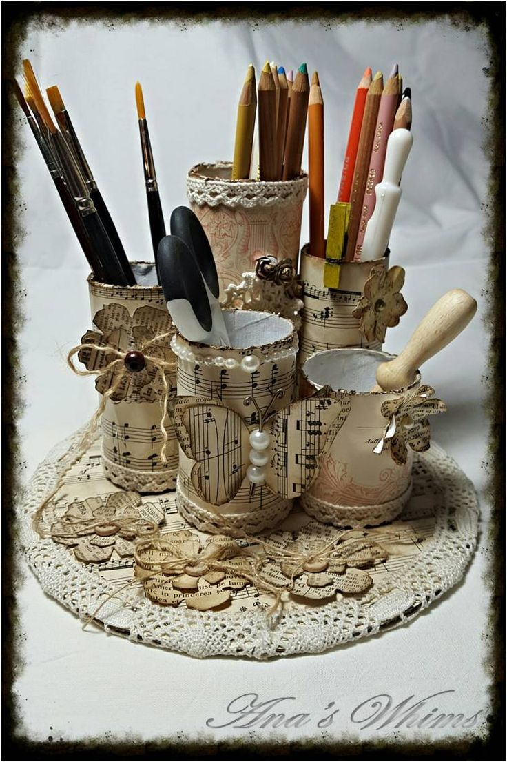 Recycling/upcycling paper rolls, vintage/shabby, pencil holder