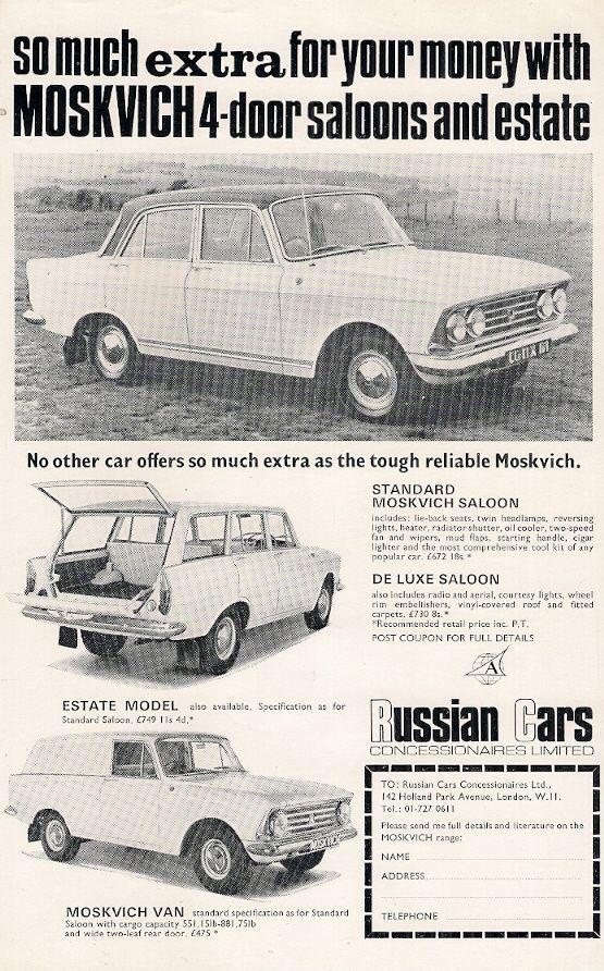 Moskvich 408 426 433 1969 UK Market Leaflet Sales Brochure Saloon Estate Van | eBay