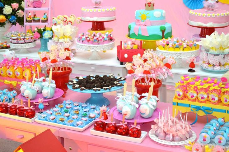 Peppa Pig girl birthday party dessert table!  See more party ideas at CatchMyParty.com!