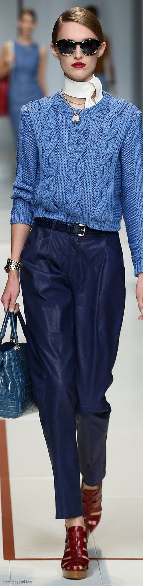 Thursday look - a blue vision - Trussardi Spring 2015 RTW
