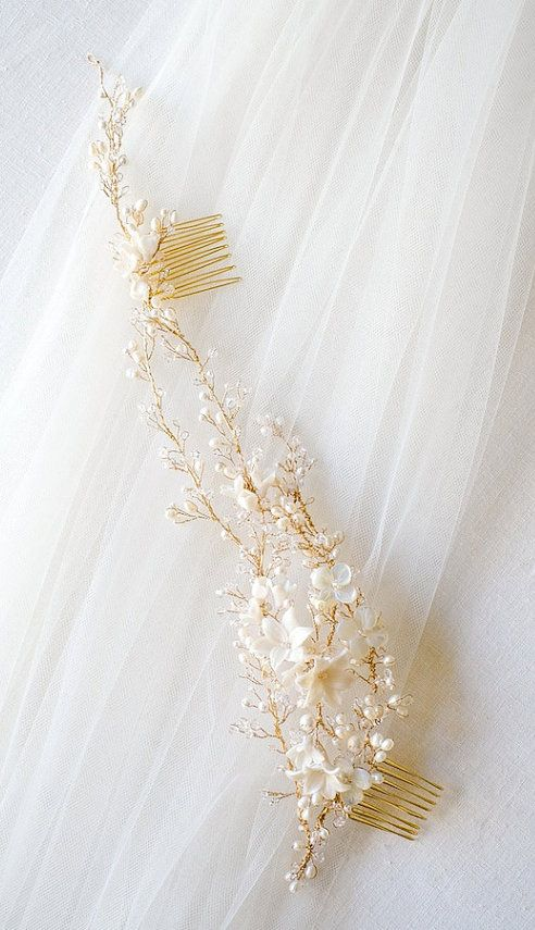MIRABELLE pearl and crystal bridal headpiece