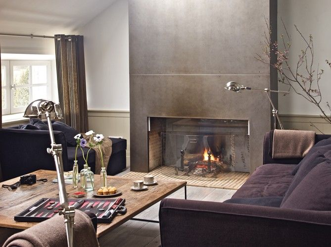 Downstairs fire place: Modern Fireplaces, Living Rooms, Rooms Decor Ideas, Paintings Ideas, Modern Industrial, Industrial Chic, Industrial Style, Fireplaces Surroundings, Barns Conver