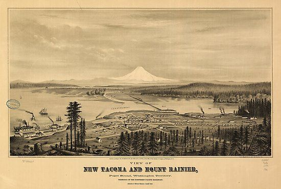 Title /     View of new Tacoma and Mount Rainier, Puget Sound, Washington Territory. / Contributor Names /     Glover, E. S. (Eli Sheldon), 1844-1920.  /     A.L. Bancroft & Company.  / Created / Published /     Portland, Or., 1878.  / Subject Headings /     –  Tacoma (Wash.)—Aerial views  /     –  United States—Washington (State)—Tacoma • Also buy this artwork on wall prints, apparel, ...