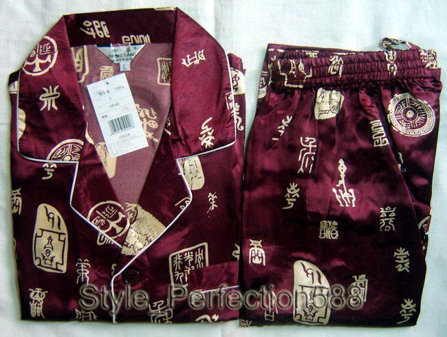 Pas cher Livraison gratuite! Bourgogne hommes Polyester Satin Robe pyjama de nuit de nuit taille S M L XL XXL XXXL ZT 4, Acheter  Pyjamas de qualité directement des fournisseurs de Chine:        2014 nouveau japonais hommes de coton robe kimono Yukata avec Obi noir en gros et au détail               US $80