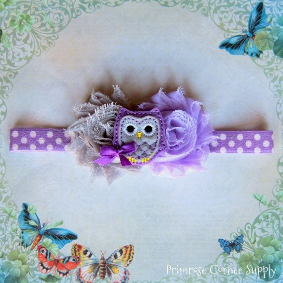 Hey, I found this really awesome Etsy listing at https://www.etsy.com/listing/167716039/owl-baby-headband-owl-purple-and-gray