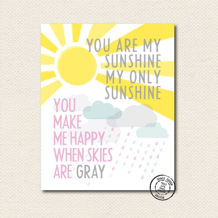 You are my sunshine art print in pink for little girl nursery! $14.00, via Etsy.